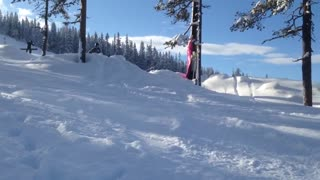 Wooden two tree snow ramp faceplant - Video