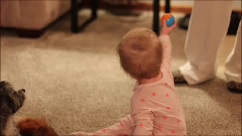 Adorable baby learns to walk