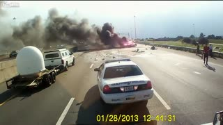 Trucker Rescues Family After Crash and Explosion on Interstate 10 - Video