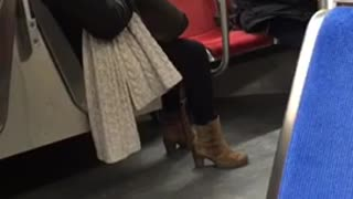 Rat slips into mans jacket on subway train - Video