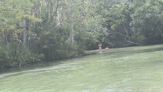 Dog and his Buddy Simultaneously Jump into the Weeki Wachee River