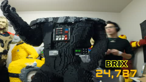 Time lapse: Building a life-size Lego Darth Vader