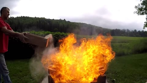 Giant flames from wood dust