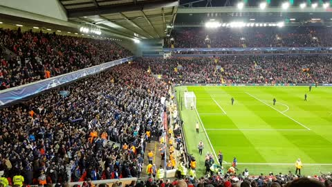 FC Porto fans having a great time on Anfield Road