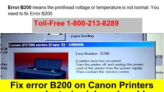 1-800-213-8289 Canon Printer Error B200 - Video