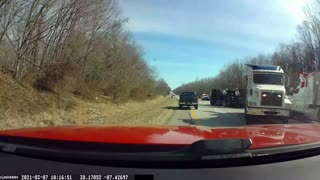 Truck Accident on the Side of the Road on I-64 in Indiana