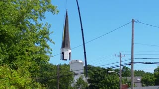 Crane Drops Church Steeple In Milton, Nova Scotia - Video