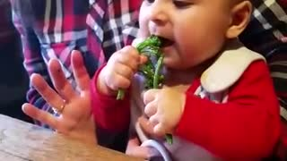 Baby tries broccoli, makes hilariously adorable face