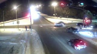 Red Light Runner Causes Crash - Video