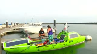 American rower begins 6,000 mile journey across Pacific - Video