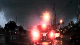 Oblivious Driver Did Not See Tornado - Pompano Beach, FL around 7:00am EST - Video