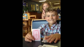 Dad and daughter fool brother with magic card trick