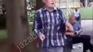 Happy man dancing in a park - Video