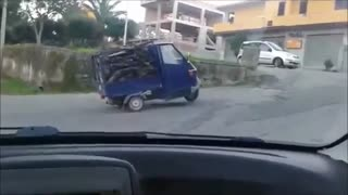 Overloaded Pickup Desperately Tries To Make It Uphill - Video