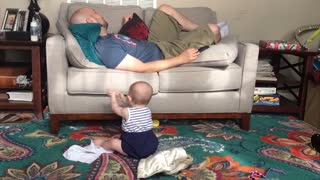 Cute Babies At Home With Dad