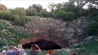 Millions of bats exiting cave in Texas - Video