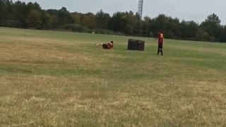 Collab copyright protection - soccer field red shirt man back flip - Video