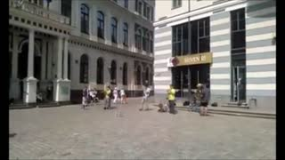 "Unique street band in Riga Old Town playing ""Under my Umbrella""  - Video"