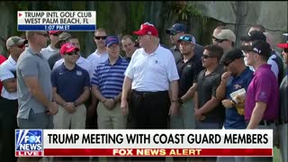Trump With Coast Guard on Golf Course - Video