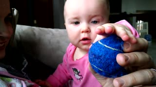 Ninja puppy steals ball from baby - Video