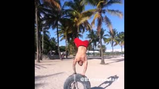 Collab copyright protection - beach balance tire fall fail - Video