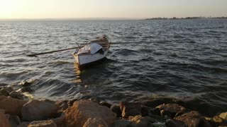 Fishing boat in Lake Qaroun