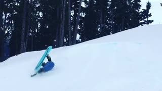 Collab copyright protection - guy blue jacket faceplants snow - Video
