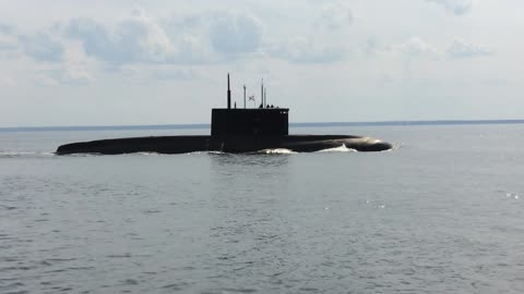 Not every day you see floating near the submarine