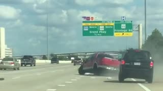 Red Truck Swerves Uncontrollably Causing Accident - Video