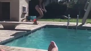 Looped video #fail girl fail dive into pool black swim suit one piece