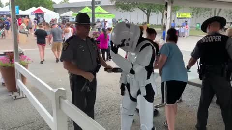 Stormtrooper checked by police