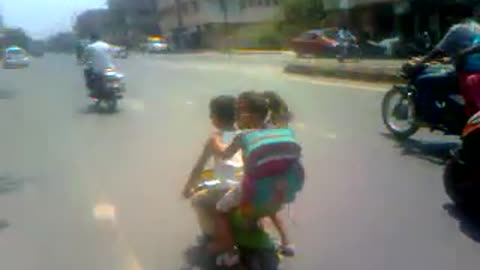 Kick 3..Small Kid Riding bike With his gf..Very funny.