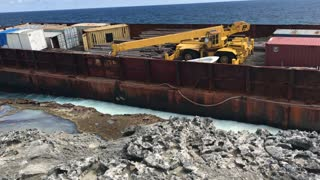 Barge Washed Ashore on Long Island Bahamas - Video