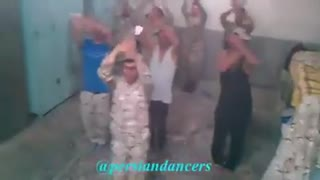 A group of soldiers dancing to a happy song