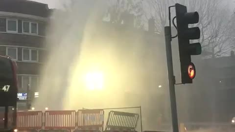 Tons of gushing water explodes into road for hours