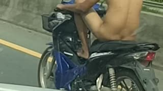 Undressed Man on a Motorcycle - Video