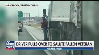 Army Vet Stops Semi-Truck on Highway, Gets Out to Salute Fallen WWII Veteran - Video