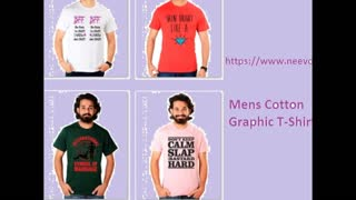 Mens Fuchsia Colour Funny Graphic T Shirts - Video