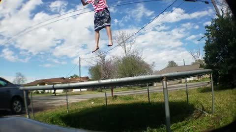 Dude Punctures Trampoline With His Leg