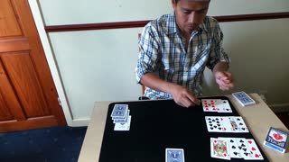 Talented magician somehow makes 4 aces disappear - Video
