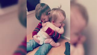 Brother Comforts Sick Baby Sister
