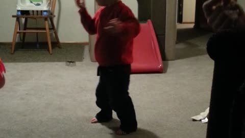 Dizzy toddler wipes out