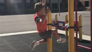 Collab copyright protection - boy in orange falls off monkey bars - Video