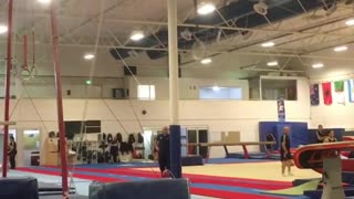 Ring gymnast falls on face - Video