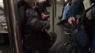 Black jacket guy plays bass and sings on subway - Video