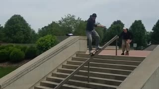Collab copyright protection - black hat red lip skate stairs rail - Video