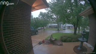 Doorbell Camera Captures Lightning Striking Tree