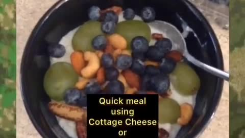 Quick meal using cottage cheese, mixed nuts and fruit