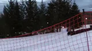 Guy goes for ramp jump snowboard and then freezes and faceplants