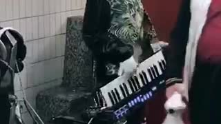 Man with cat costume head playing music